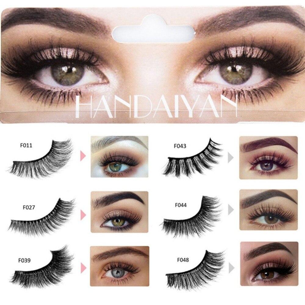 1 Pair False Eyelashes 3D Fake Eye Lashes Handmade Strip Lashes Eyelash Natural Bending Fake Eyelashes Makeup Cosmetics Tool