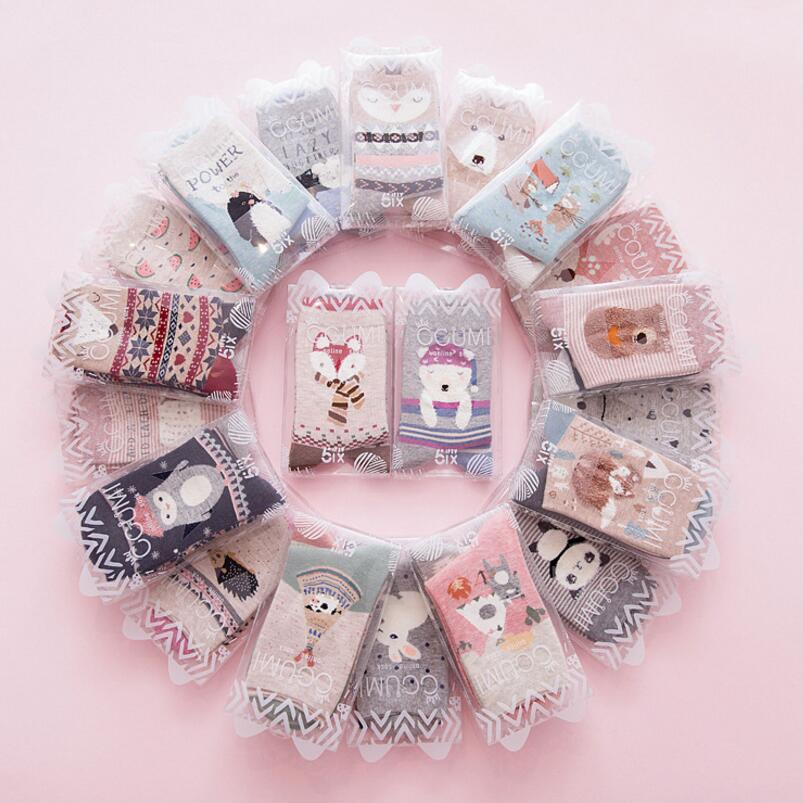 2 Pairs Of Diffent Loading Cute Cartoon Women Socks Tube Cotton High Quality Meias For Fashion Casual Lady Socks Gift