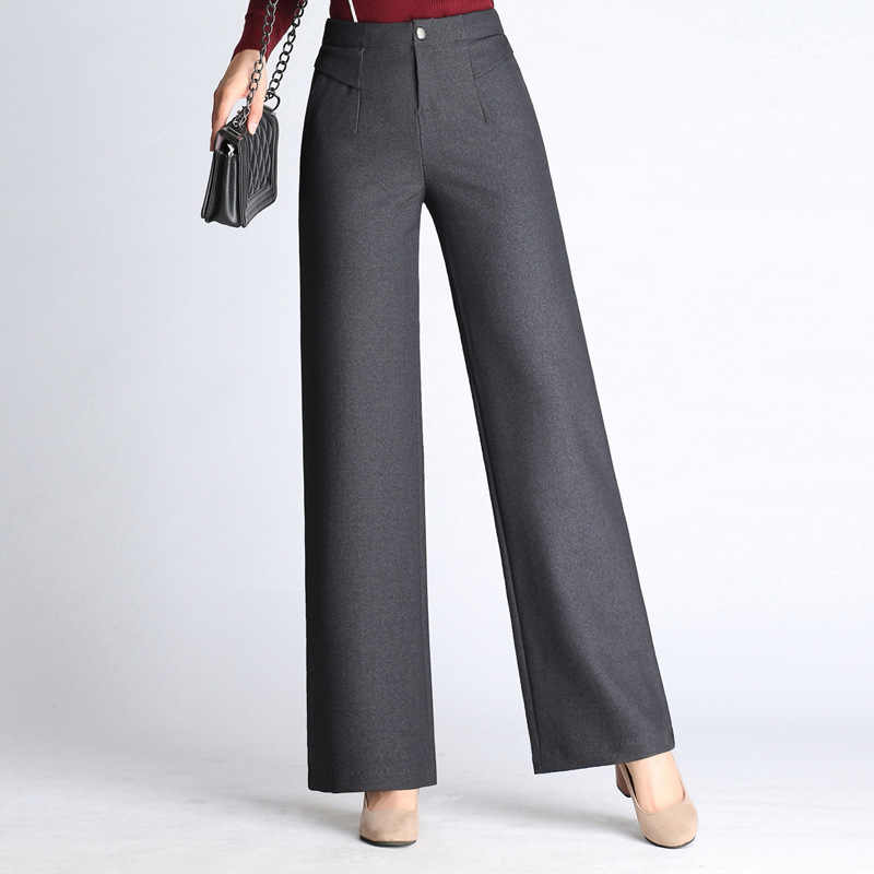 Women Thicken Warm Straight Pants For Autumn And Winter High Waist Wide Tube Fat Legs Pants Female Big Size Flat Trousers