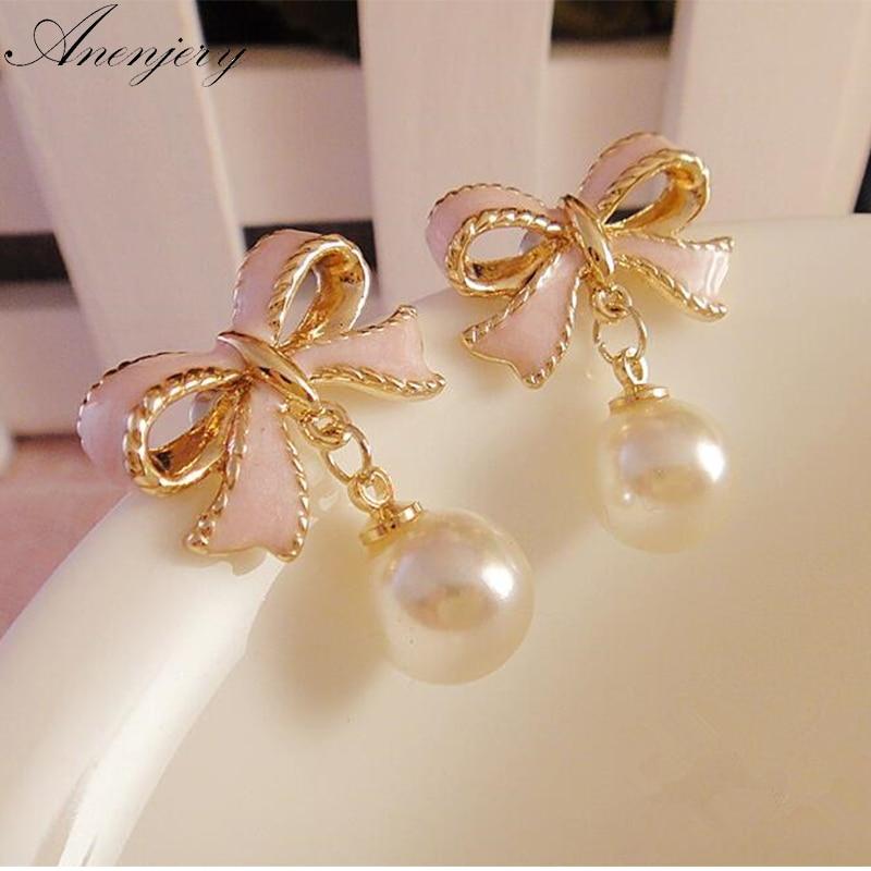Anenjery высокое качество изящных золотых Цвет розовые капли масла бабочка узел жемчужина Серьги-гвоздики для Для женщин brincos E22