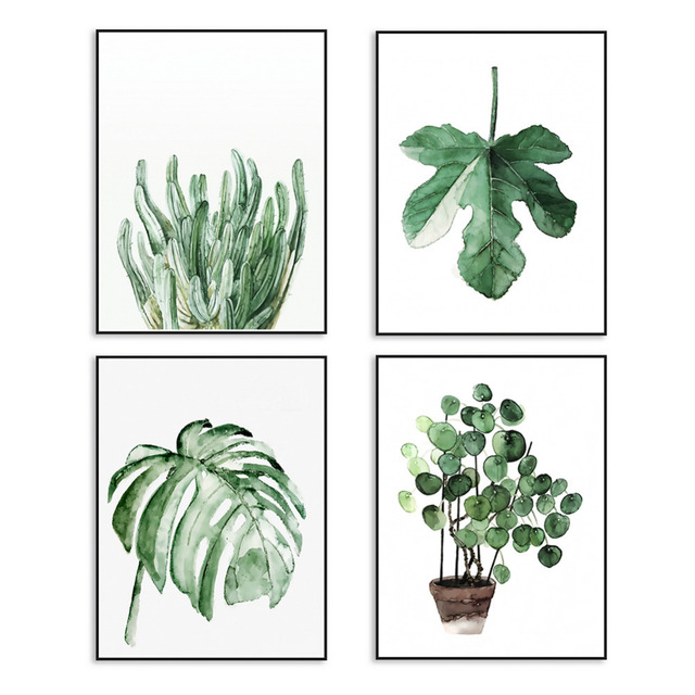 Watercolor Tropical Plant Leaves Canvas Art Print Poster Wall Pictures For Home Decoration Decor