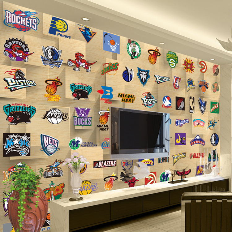 Basketball Sport Team LOGO 5D Papel Mural 3d Wall Mural for Living Room TV Background Wallpaper 3d wall photo mural Stickers classic household black 3d photo wallpaper for walls in rolls papel de parede living room tv exfoliator wall mural stickers