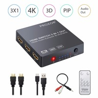 4K 3D 1080P With PIP Function HDMI Switch 3 Hub 3x1 Switcher With Audio Extractor Converter