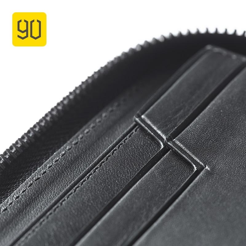 90FUN zwięzłe długi portfel biznesowy Safiano prawdziwej skóry posiadacz karty kiesy dla mężczyzn kobiety na co dzień monety nuty rachunki w Portfele od Bagaże i torby na  Grupa 3