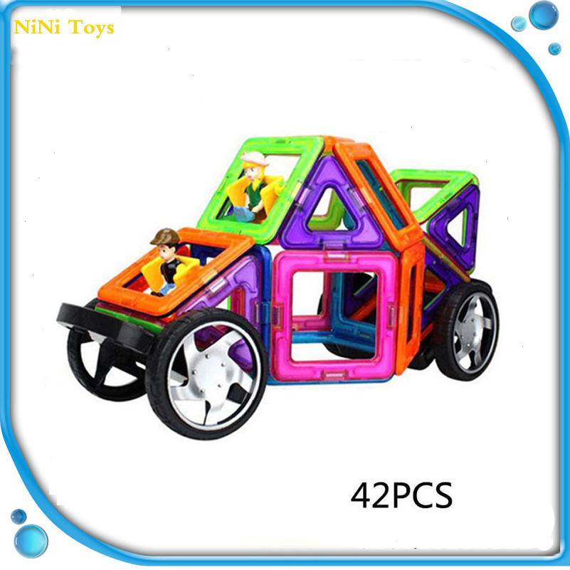 42 шт. Магнитный конструктор Конструкторы кукла автомобиль и колесо обозрения модель образования Магнитный конструктор бой вставлены блок для малыша