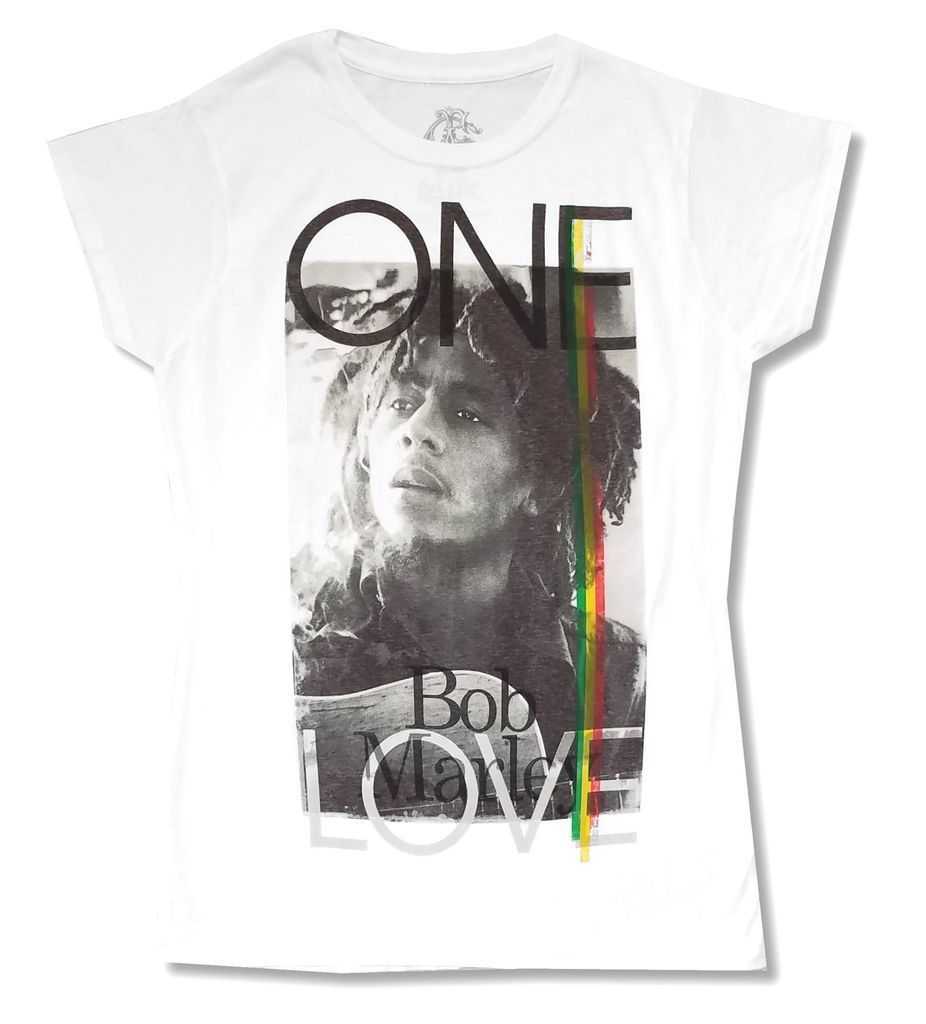 Bob Marley One Love Girls Juniors White T Shirt New Official Soft