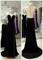 Personalización de lujo hechos a mano cosida abalorios y lentejuelas vestido de noche transparente organza backless del partido de baile vestido de la celebridad