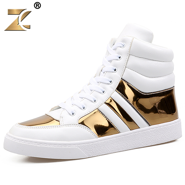 Z 2017 Glossy Gold Men Casual Shoes European Style Fashion Design Outdoor Lace-up Durable Shoes For Men Boots zapatos casuales
