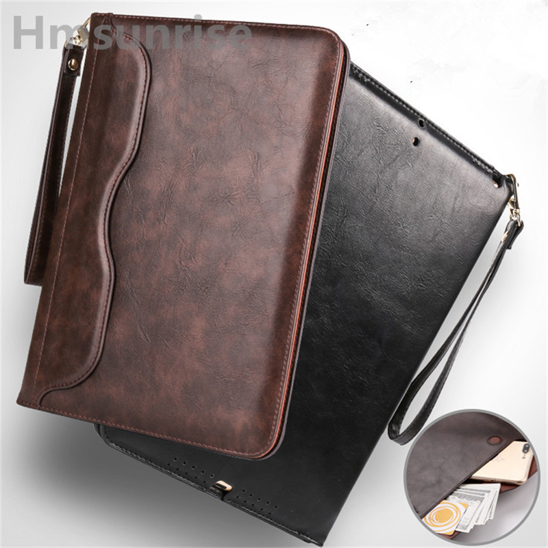 Hmsunrise Luxury Leather Case For apple ipad air 2 Ultra Thin Folio Flip Stand Cover Auto Wake Sleep for ipad air2 A1566 A1567 flip left and right stand pu leather case cover for blu vivo air