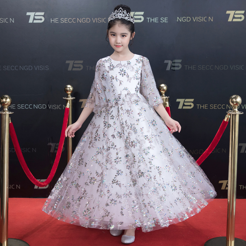 2018 Spring Autumn New Children Girls High Quality Sequined Birthday Wedding Party Long Princess Dress Teens Kids Pageant Dress 2017 new high quality girls children white color princess dress kids baby birthday wedding party lace dress with bow knot design