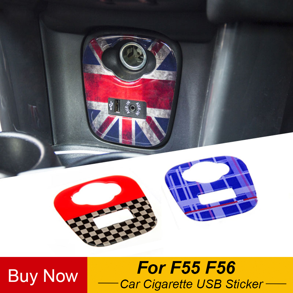 Union Jack Car Cigarette USB AUX Console Panel Decorative Stickers Decals For Mini Cooper JCW F55 F56 Car Styling Accessories
