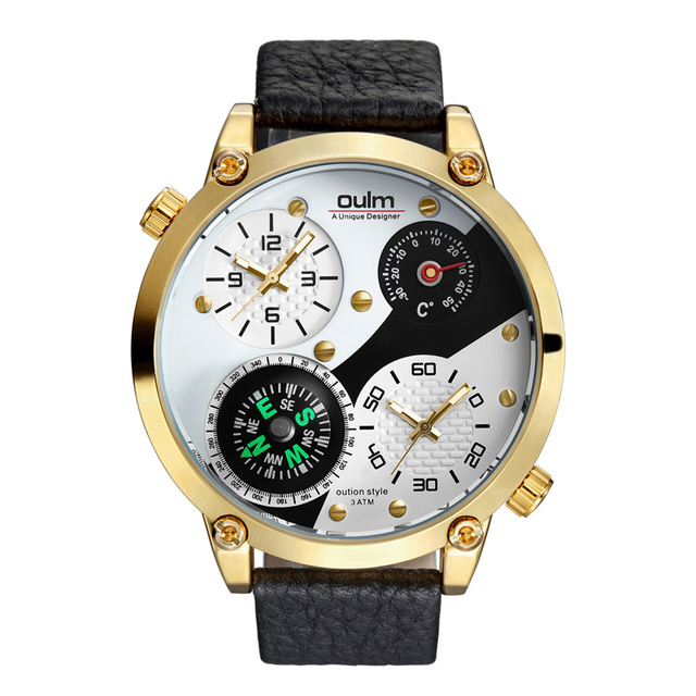 d562f5d1479 Oulm Esportes Novos Relógios Homens Marca De Luxo Decorativo Bússola e  Termômetro Relógio com Pulseira de