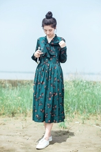 Autumn mori girl vintage long dress with bow floral print blue tied sweet girl long sleeve new collection women dress