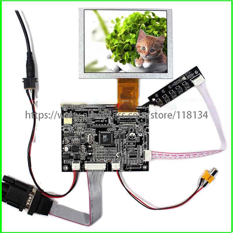 VGAAV <font><b>Lcd</b></font> Controller board KYV-N2 V6 5inch ZJ050NA-08C replacement AT050TN22 <font><b>640x480</b></font> <font><b>lcd</b></font> panel VGA/AV image