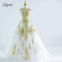 Verbazingwekkende Elegante Strapless Olijf Kleur A-lijn Trouwjurk Sweep Trein Speciale Gelegenheid Bruid robe de mariage