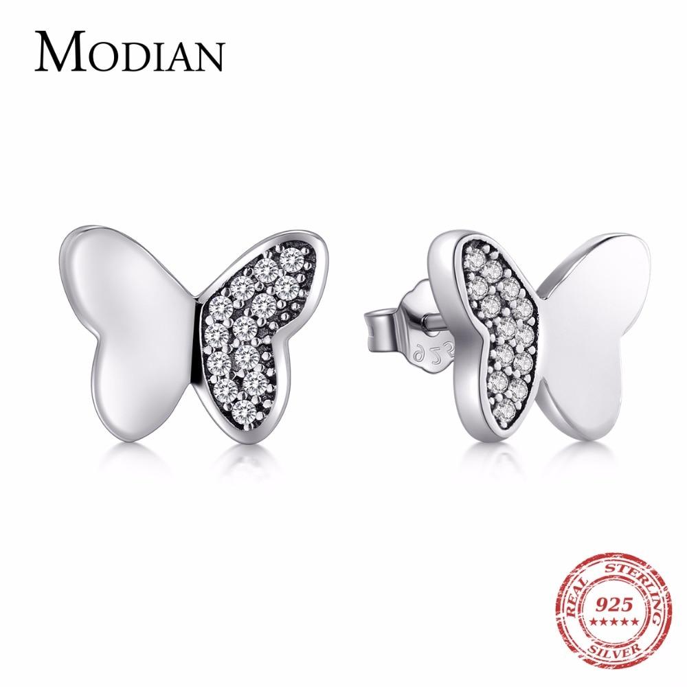 Sterling Silver CZ Butterfly Stud Earrings