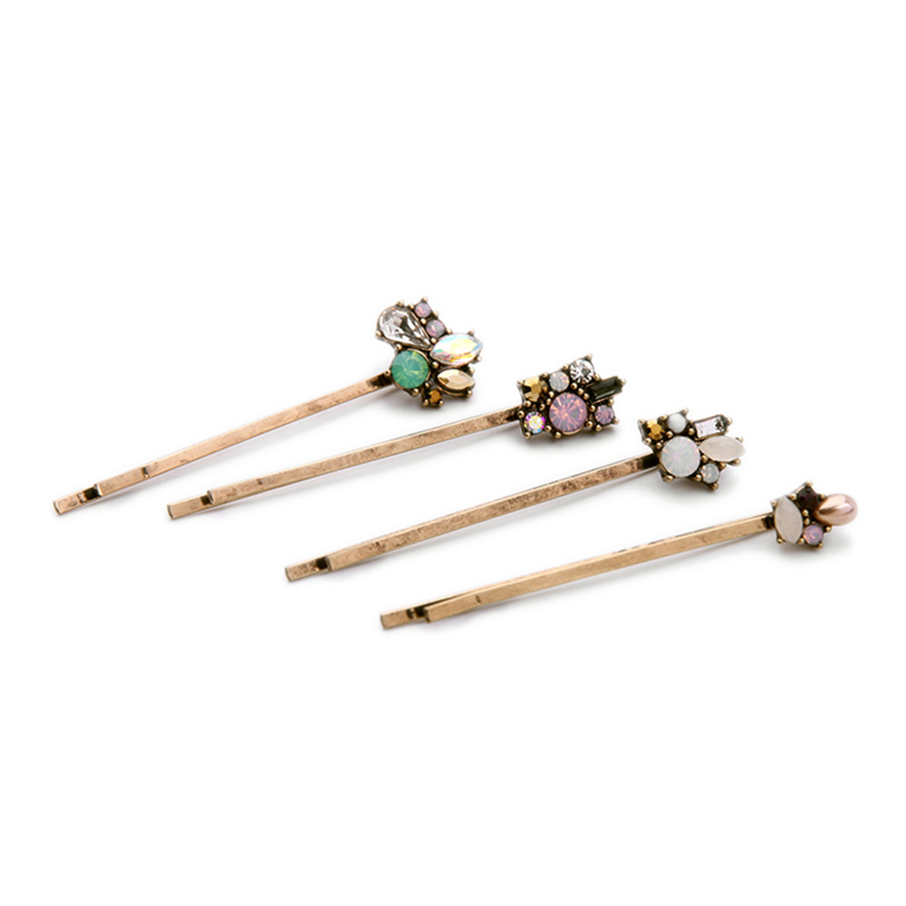 2016 Free shipping The European and American fashion Ms pearl protein crystal alloy hairpin restoring ancient ways