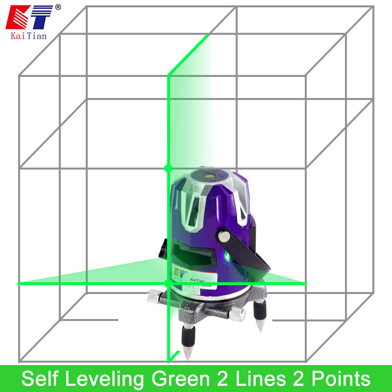 Kaitian Green 2 Lines Rotary Laser Level 532nm Cross Level Leveling with Slash Function Receiver Detector EU Plug Lazer Level