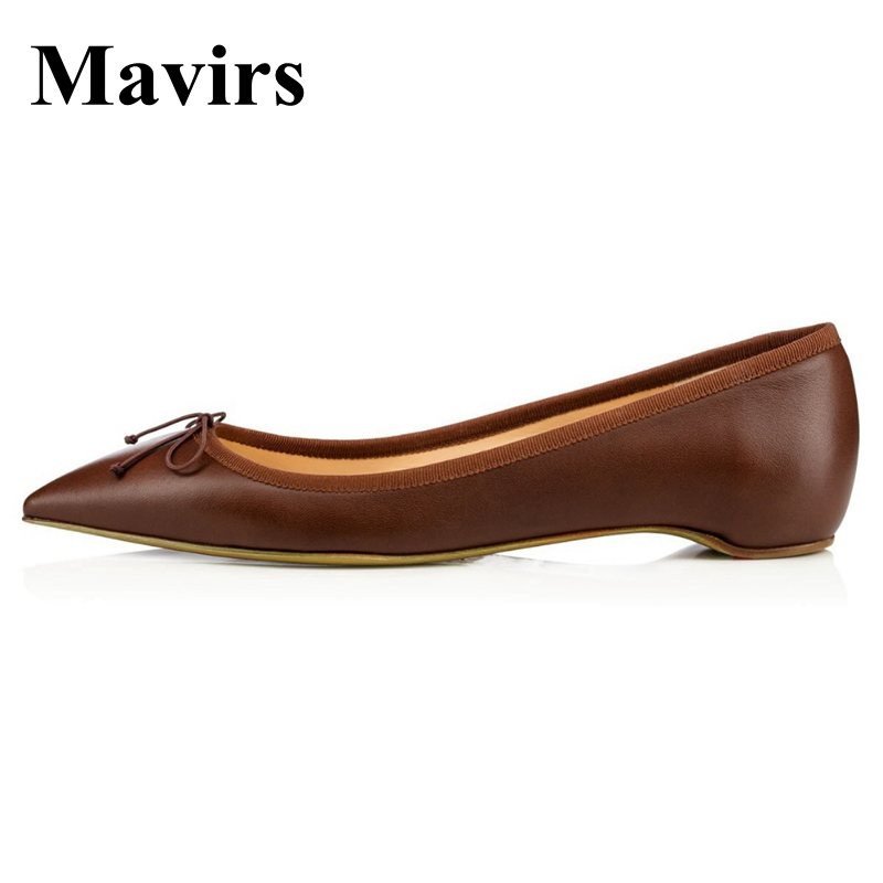 MAVIRS Ballet Flats 2018 Pointed Toe Butterfly-knot Beige Brown Nude Women Flats Slip-on Bride Wedding Shoes EU Size 35-46 meotina women flat shoes ankle strap flats pointed toe ballet shoes two piece ladies flats beading causal shoes beige size 34 43