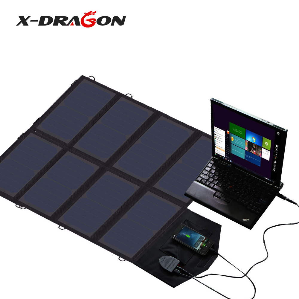 X-DRAGON Portable Solar Panel Charger 40 18V 12v Foldable Solar Panel Solar Battery Charger for iPhone Laptop Cellphones x dragon solar phone charger 20000mah 5w solar charger for iphone 4s 5s se 6 6s 7 7plus 8 x ipad samsung htc sony lg nokia