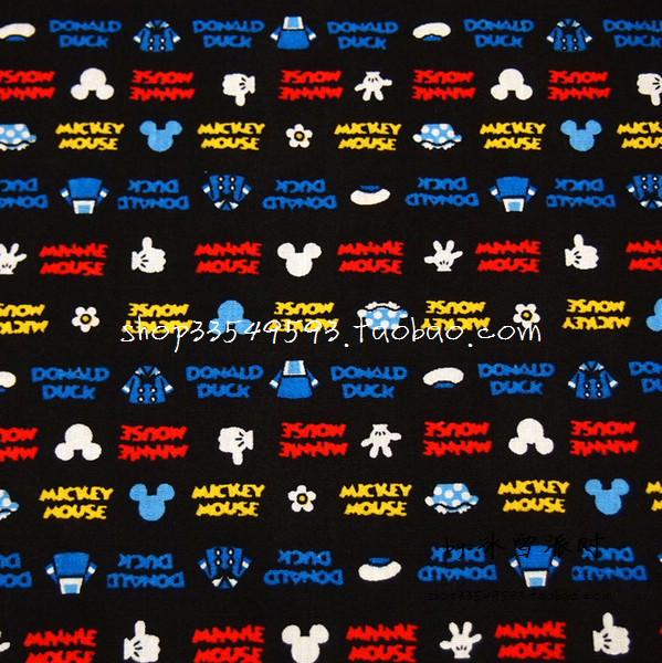 140X100cm Small Mickey Head Clothes White <font><b>Glove</b></font> Colorful Letters Black Cotton Fabric Baby Boy Clothes Bedding Set DIY-AFCK666