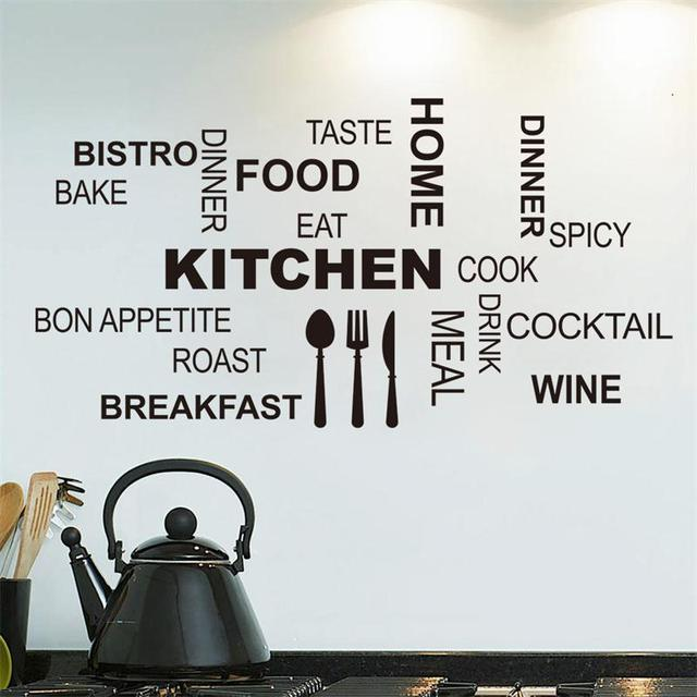 Creative Art Kicthen Wall Stickers Home Decor Knife Fork Spoon FOOD WOEDS  Vinyl Wall Decals Adesivo