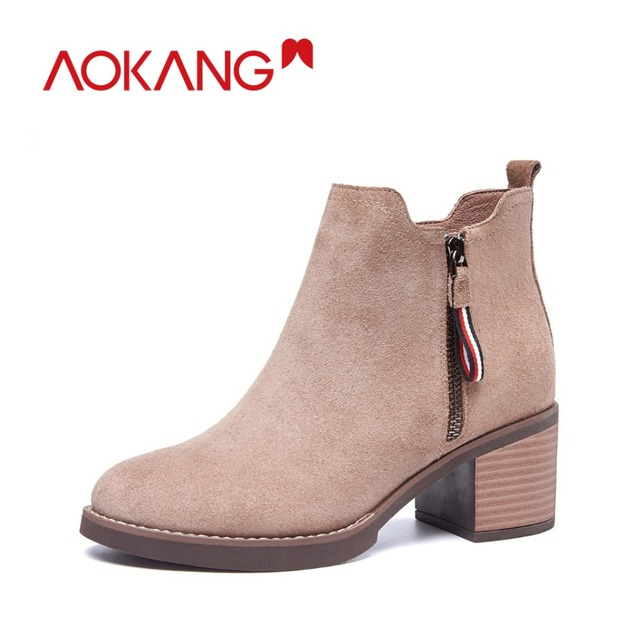 AOKANG autumn&winter women boots soft Genuine leather  fashion boots for lady  female shoes free shipping