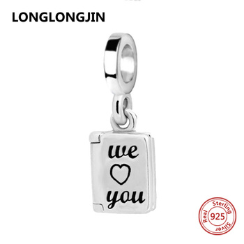 Genuine 925 Sterling Silver we love you Beads pendant Fit Pandora Charm Original Bracelet European DIY Jewelry for lover gifts