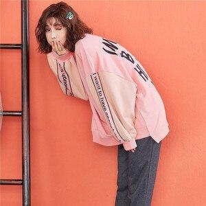 Image 5 - JRMISSLI Bahar Yeni Kadın Pijama Setleri Mektup Pembe Saf Pamuklu Pijama Ev Giysileri Iki parçalı Takım Elbise Casual Kazak Pijama