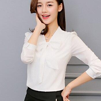 Harajuku New Spring Summer Blouse Women Long Sleeve Shirts Fashion Leisure Chiffon Shirt Bow Office Ladies Pink White Tops 2