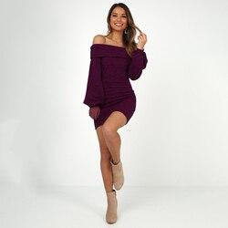 2019 spring women's new cashmere sanding four-color  long-sleeved slim hip dress 6