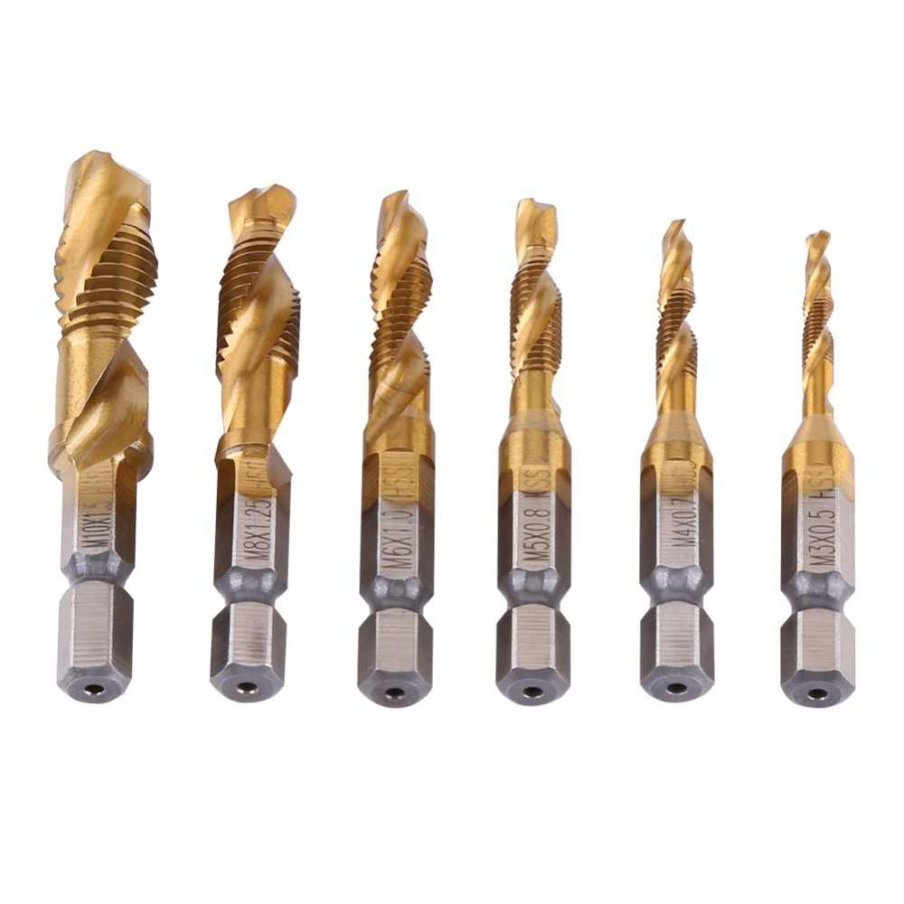 Metaal Boor 6pcs Drill Bit Metric Thread M3 M10 Titanium Coated Hss Drill And Tap 1 4