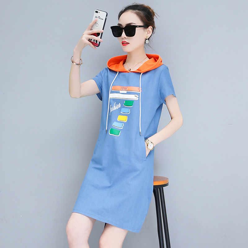 Модное женское джинсовое платье 2019, летние платья с принтом и капюшоном, женские джинсовые платья с коротким рукавом больших размеров, облегающие повседневные топы H760