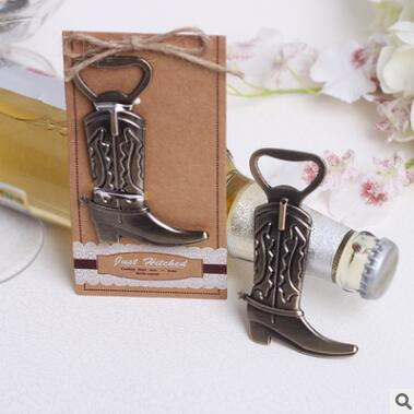 2018 New Vintage Alloy Cowboy Boot Shaped Red Wine Bottle Openers Beer Bottle Opener Event Party Supplies Table Centerpieces Dec