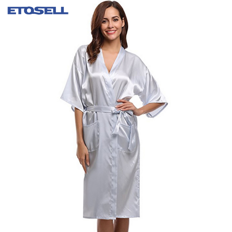 Summer Solid Faux Silk Female Robes Half Sleeved Satin Yukata Kimono Cardigan Bath Night Sleepwear Robe for Women Plus Size XXXL