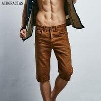 AIRGRACIAS Men Solid Color 100 Cotton Denim Shorts Male Short Jeans Summer Casual Short Jean For
