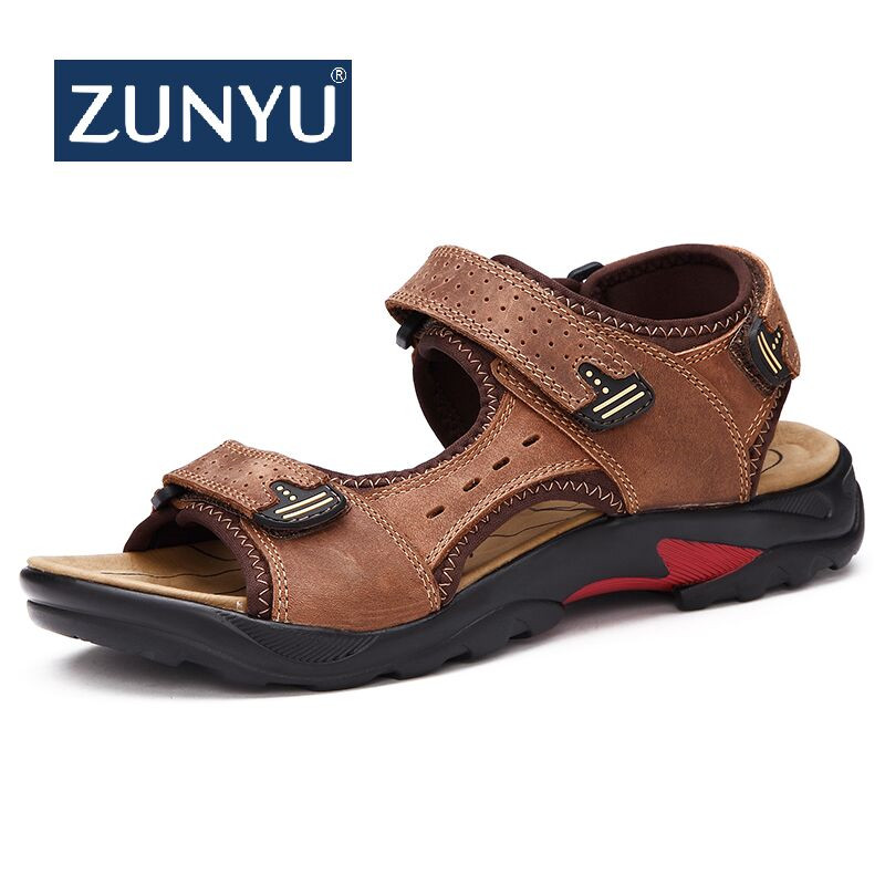 ZUNYU Brand Casual Men Genuine Leather Soft Sandals Comfortable Beach Shoes High-Quality Men Roman Summer Men Sandals Size 38~48