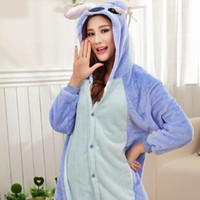 Wholesale Winter Animal Onesies Cartoon Unisex Adult Blue Stitch Onesie Cosplay Costume Flannel Sleepwear Pajamas Sets