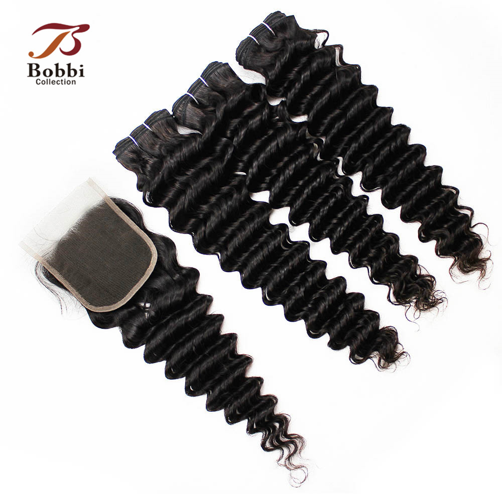 BOBBI COLLECTION 3 Bundles With Closure Deep Wave Bundles With Lace Closure Malaysian Hair Extensions Non Remy Human Hair Weave