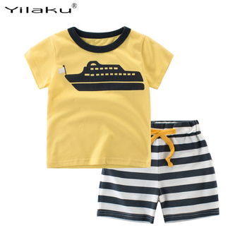 Yilaku Children Clothing Boys Summer Sets Baby Kids Short Sleeve T-shirt and Striped Shorts Suit Child Boy Outfits CF523
