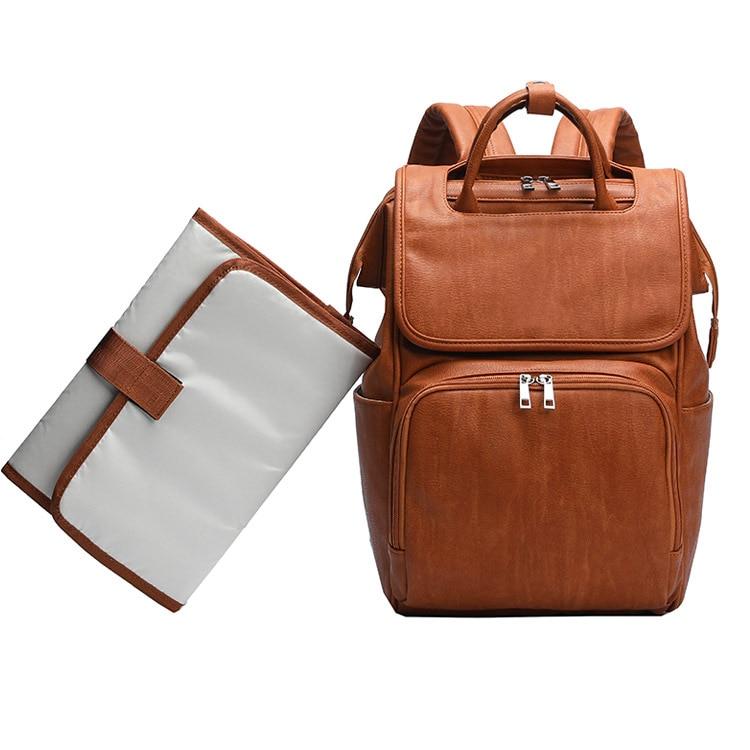 2019 soins infirmiers de haute qualité bébé PU sac en cuir sac à couches Designer voyage Nappy sac organisateur imperméable maternité Patchwork