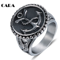 CARA NEW Well Polished 316L Stainless Steel Anchor Ring Vintage Silver Color Hip Hop Punk Anchor