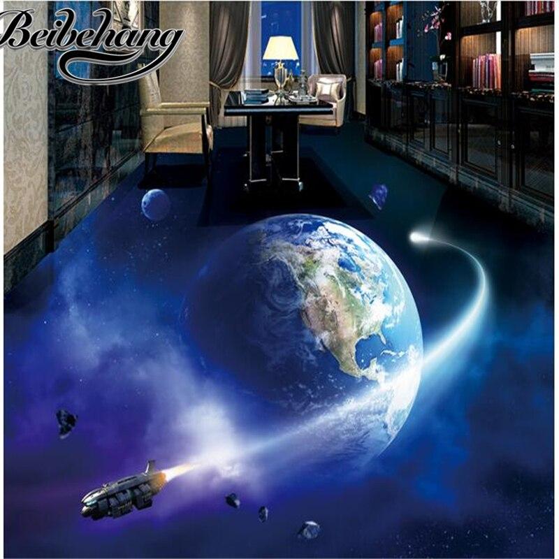 beibehang 3 d pvc flooring custom photo Waterproof floor wall sticker picture universe earth