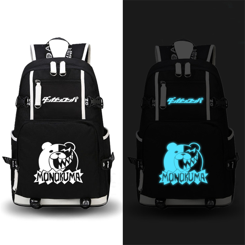 2017 New Danganronpa Monokuma Backpack Luminous Printing Backpack Canvas Anime School Bags Mochila Feminina Laptop Backpack fairy tail shoulders school bags anime canvas luminous printing backpack schoolbags for teenagers mochila feminina