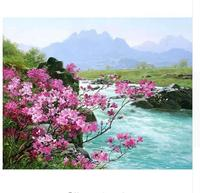 Frameless River Landscape DIY Painting By Numbers Kits Painted Oil Painting Unique Gift For Living Room