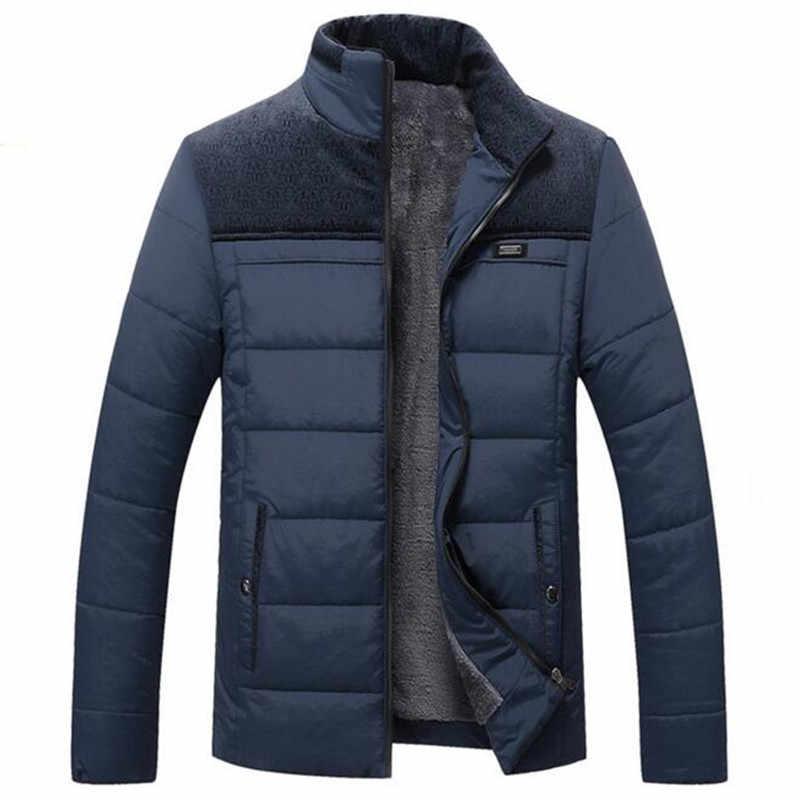 Мужская зимняя куртка новинка 2017 года плюс кашемир Blouson Homme мужской Стенд воротник бизнес пальто утепленная одежда толстые сращивания хлоп