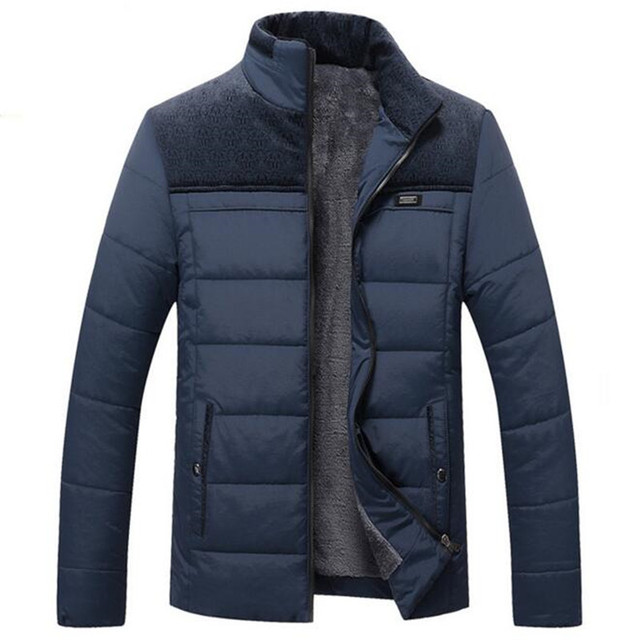 Mens Winter Jacket 2017 New Plus Cashmere Blouson Homme Male Stand Collar Business Coat Keep Warm Thick Splice Cotton clothing