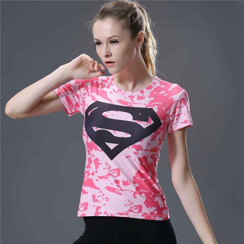14  Captain America Spiderman Batman Superman Tee Shirt Femme Fitness Tight Compression Shirt Female Short Sleeve Summer Top T-shirt
