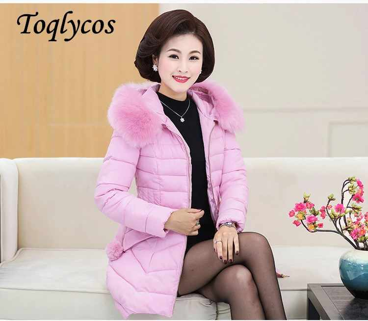 Women's big hair collar in the long thick cotton clothing fashion over the knee down cotton-padded jacket warm winter 239
