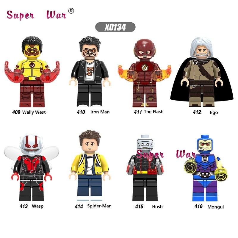 1PCS The Flash Wally West Iron Man Tony Stark Ego Wasp Hush Mongul SpiderMan Building Blocks Models Bricks Toys For Children